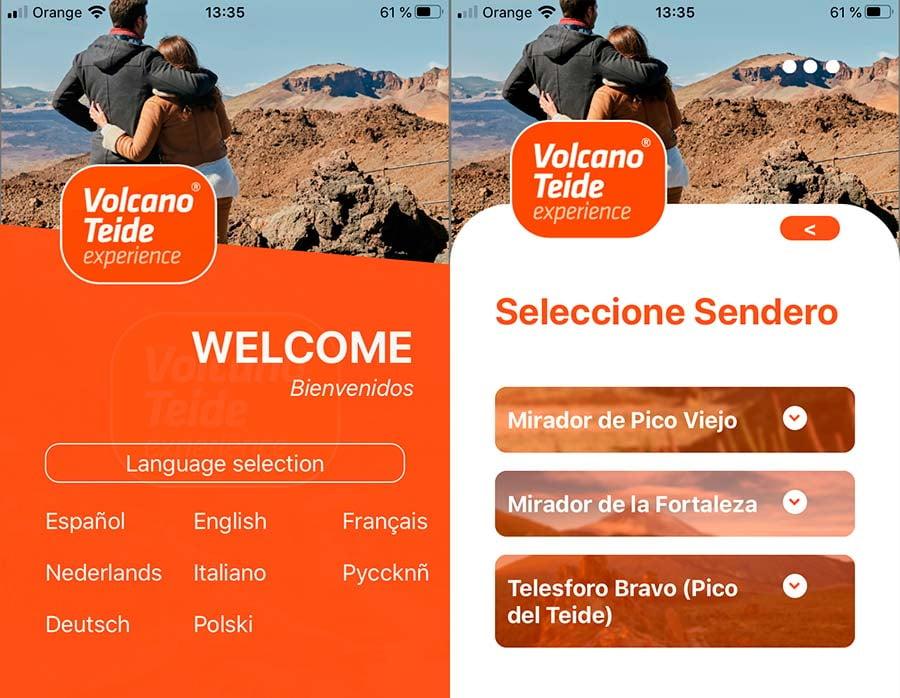 Écrans de l'appli de l'audioguide du Téléphérique du Teide