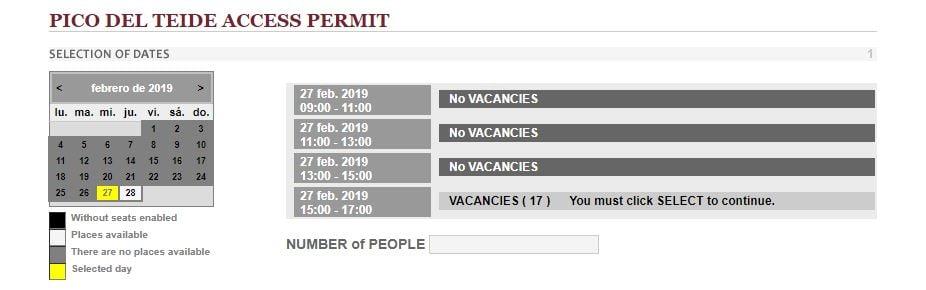 Teide permit online