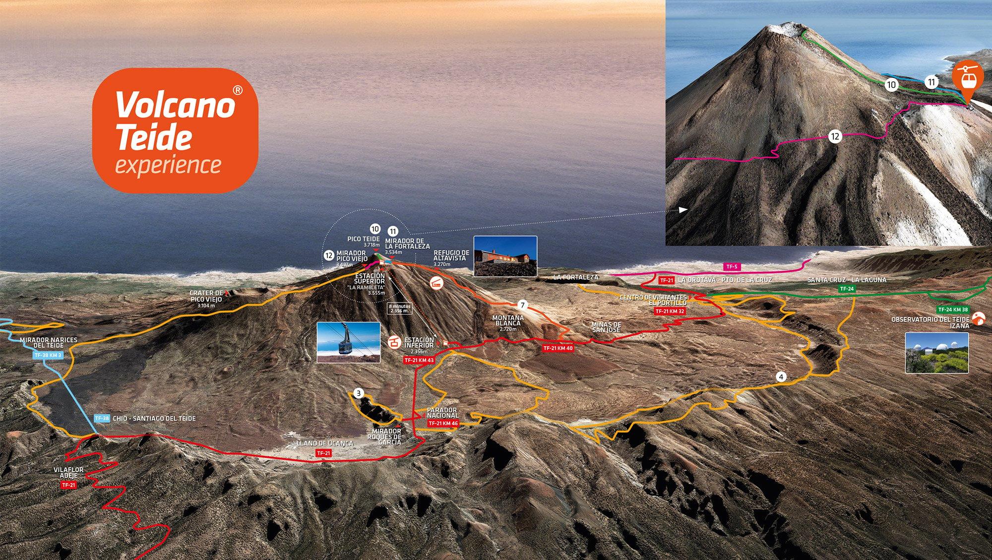Teide Gipfel Besteigung mit Seilbahn Fahrt