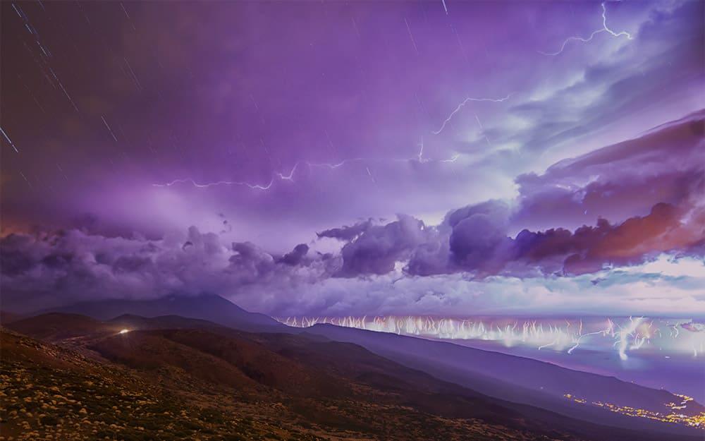 Imágen de una tormenta captada por Teide Lab