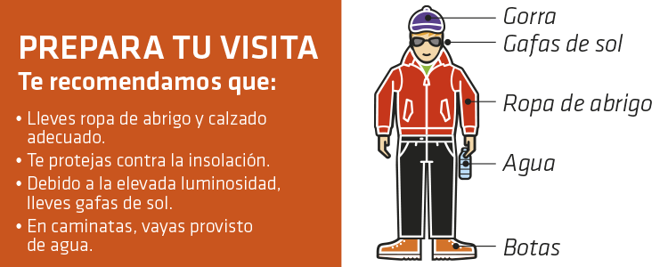 Gráfico con recomendaciones de vestimenta para visitar el Teide con Teleférico