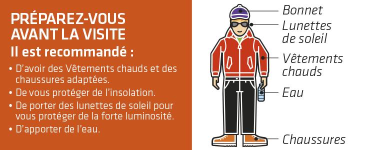 Graphique présentant des recommandations par rapport aux vêtements que vous devriez porter pour visiter le Teide en Téléphérique