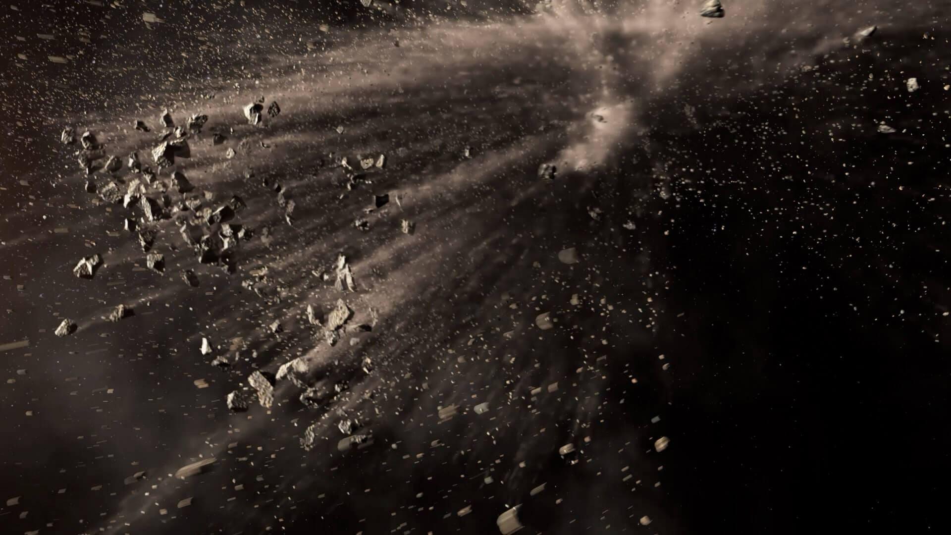 Colisión de asteroides en el espacio